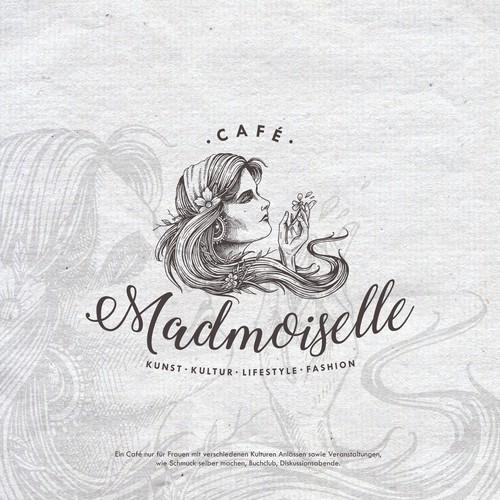 vintage Girl Logo concept for Cafe Madmoiselle