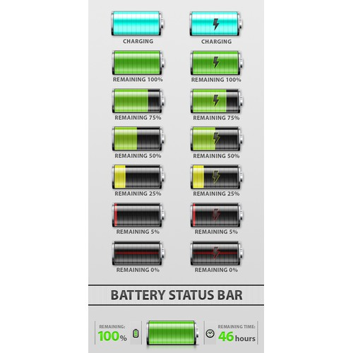Battery Status Bar Icons