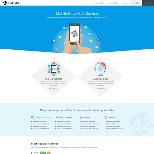 Home Page Design For 42matters