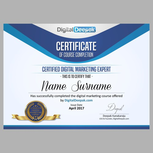 Create a Certificate Design for an Online Course
