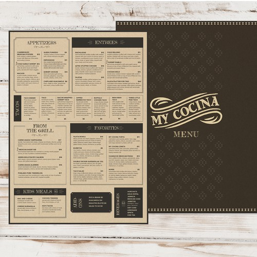 menu design for Mexican restaurant