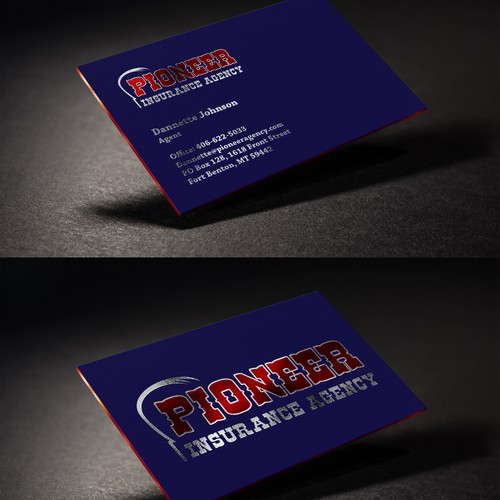 Business Card Design For Pioneer Insurance Agency