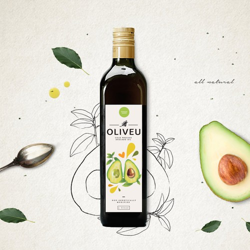 Avocado oil label design