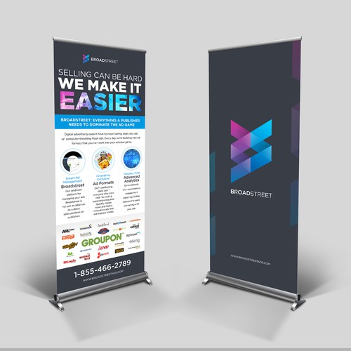 2 Posters: Pop-Up Stands for a Small Tech Company