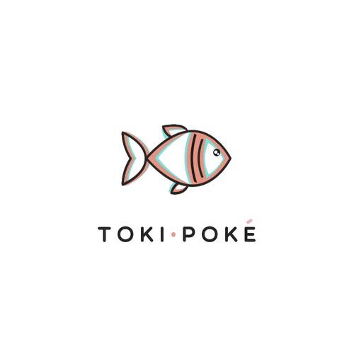 Cool contemporary logo for Poke Restaurant