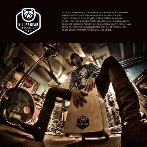 Logo to start a street drumming revolution- for Killer Bear Drums