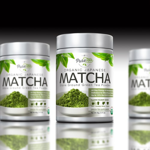 matcha tea label design