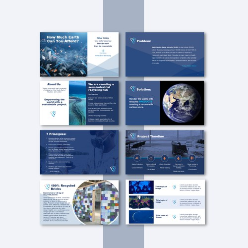 Bold presentation design for an Environmental Company