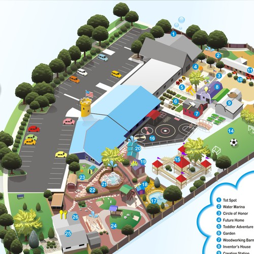 Childcare center needs a fun theme-park style map illustration