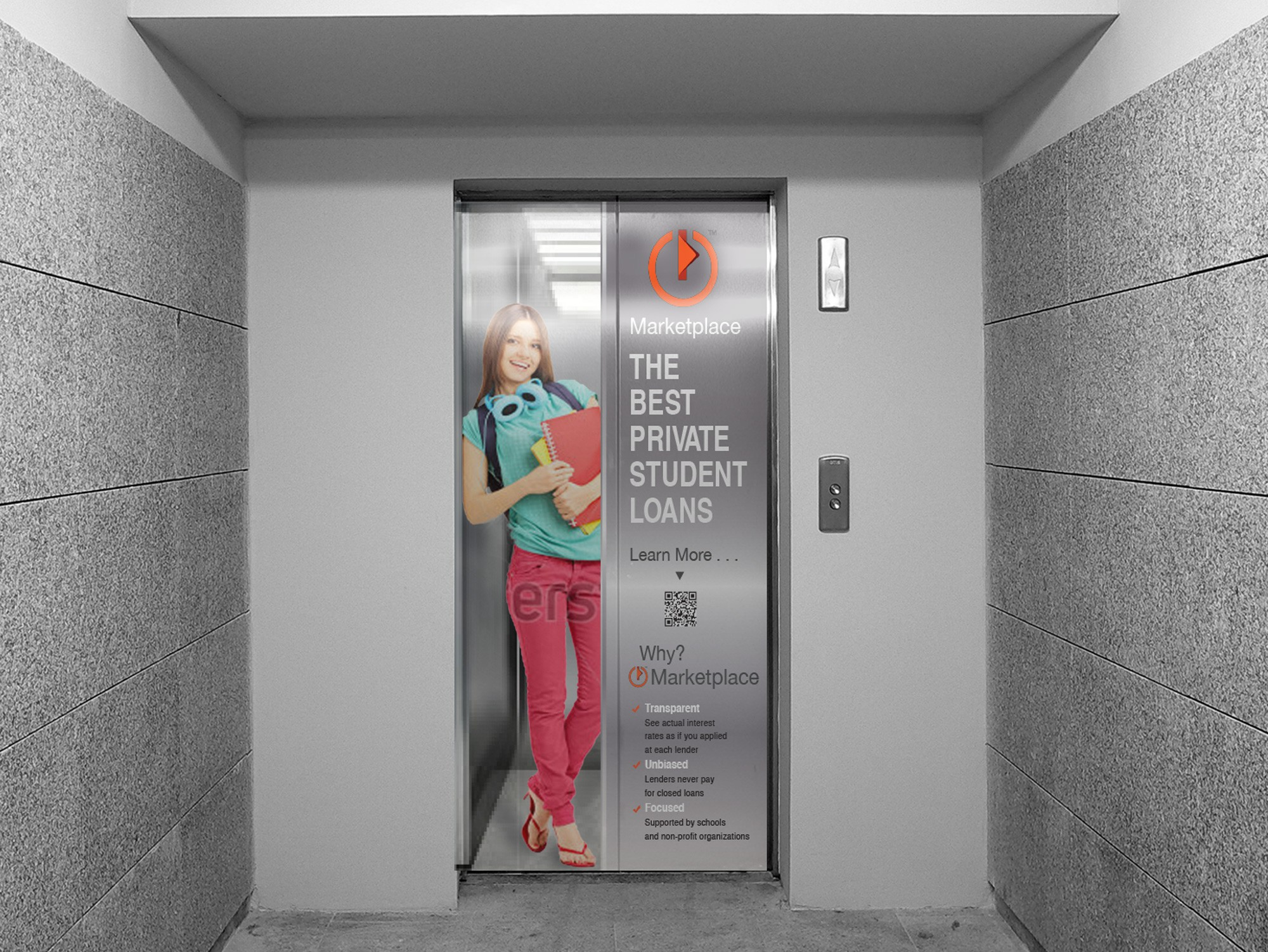 "Elevator door adverstisement ""banner"""
