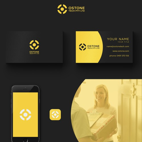 Ostone Tech logo and business card