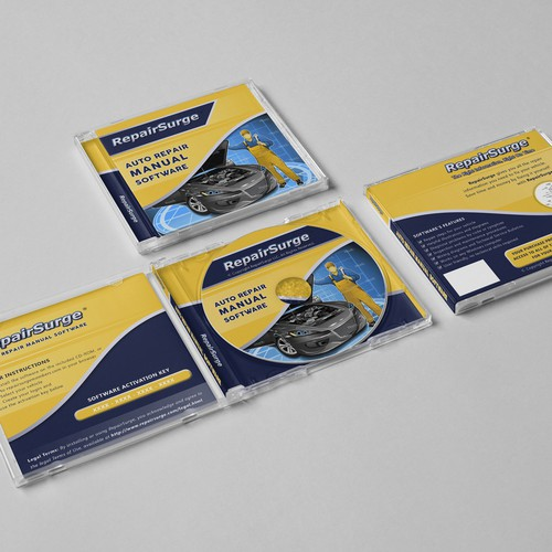 Packaging for auto repair manual software CD-ROM