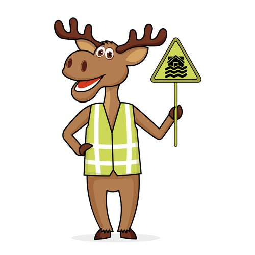 Friendly moose mascot for public safety education