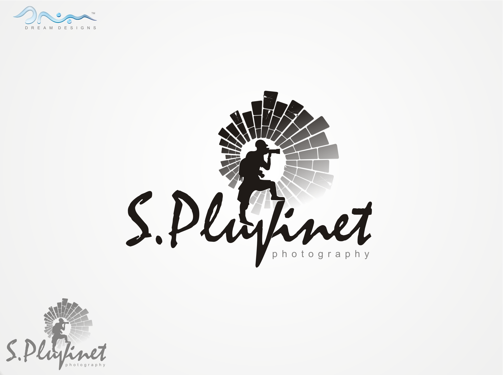 logo and business card for Sébastien Pluvinet or S. Pluvinet or SPLUVINET or Spluvinet etc. (small or capital letters)