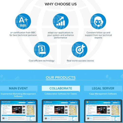 "Parent company website, and product ""brochure"" subsites."