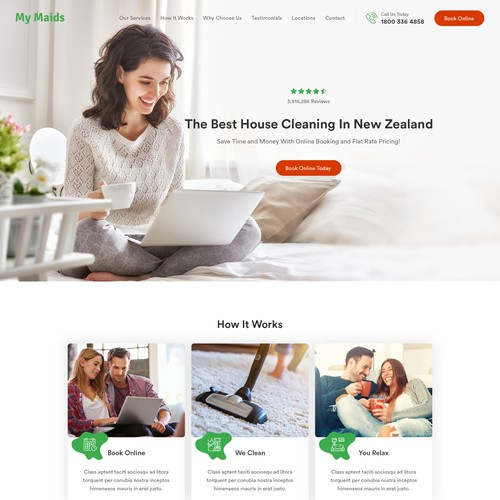 Homepage Design For The #1 House Cleaning Service In New Zealand