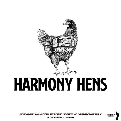 Organic chicken eggs logo design