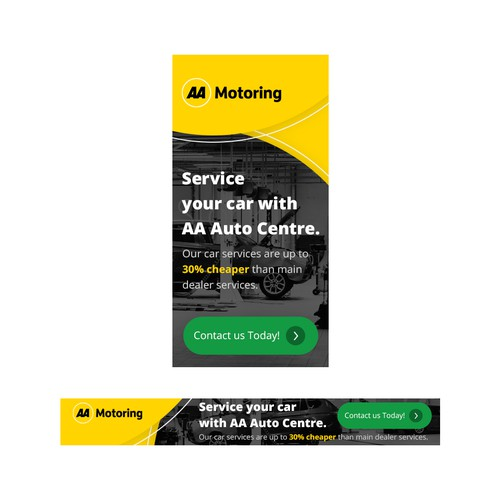 Animated banner set for expert automotive service team