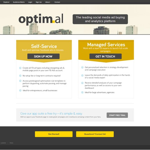 Help Optimal Design Compelling Landing Page!