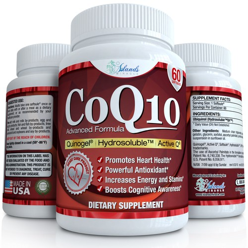 CoQ10 label and 3D render