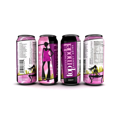 "Design an aluminium 330ml slim can for an ""America's Next Top Model"" drink"
