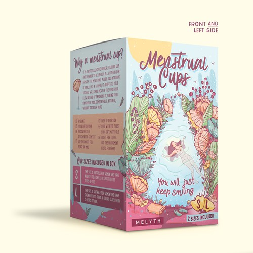 Illustrated and feminine design for menstrual cups package