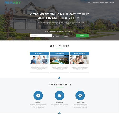 Landing Page for New Home Buying and Financing Tech Company