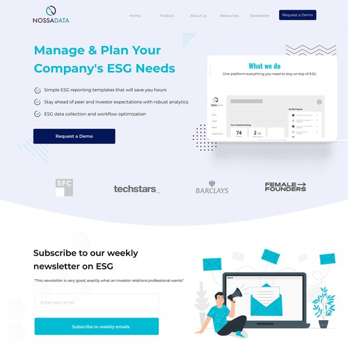 Landing page for an ESG start-up