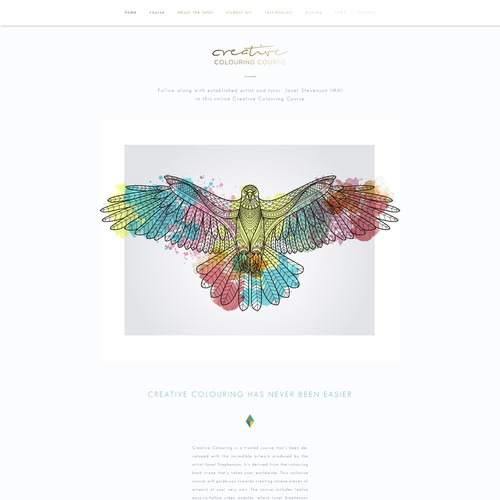 Homepage design for online colouring course
