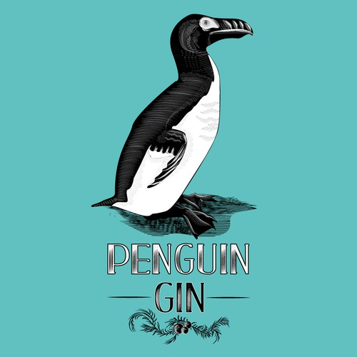 Lithographic Style Penguin