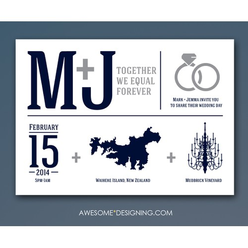 Create the next postcard or flyer for Mark & Jemma's Wedding