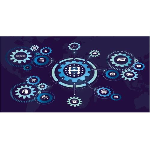 Illustration for technology hub, e-commerce