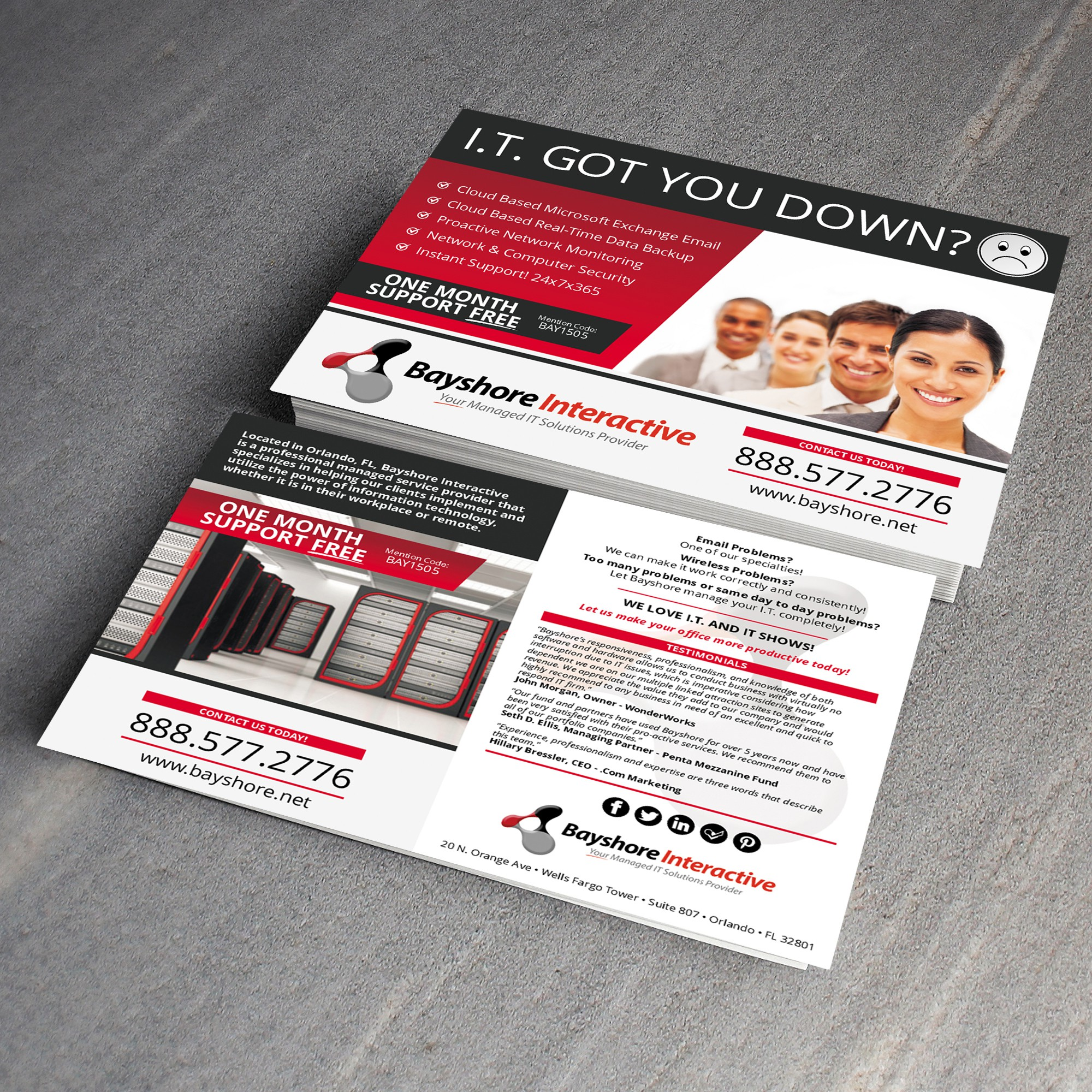 Create a 5x7 Postcard that showcases our IT firm!