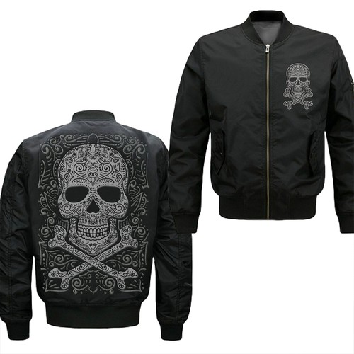 Design Skull or Sugar Skull Designs in Embroidery effect Full Front and rear of the jacket