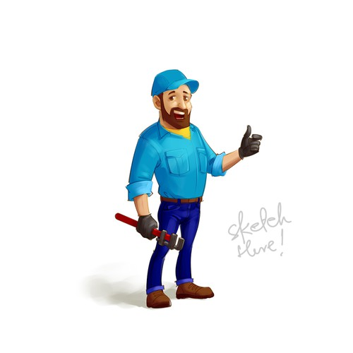 Human plumber cartoon mascot sketch