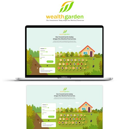 Illustration landing page for Wealth Garden