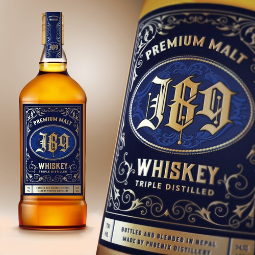 Design a label for Whiskey brand called J89