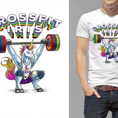 just make crossfit unicorn illustration awesome