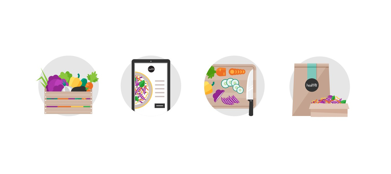 Create 4 icons for my food delivery business