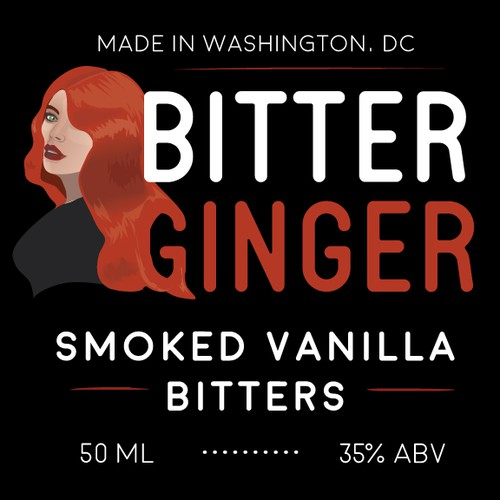 "Label for ""Bitter Ginger"" alcohol bitters"