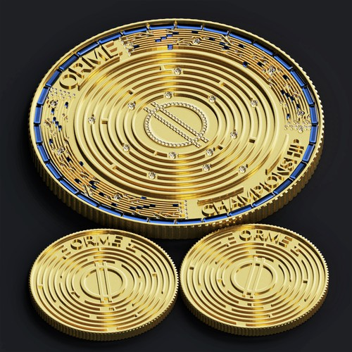 Golden coin in 3D