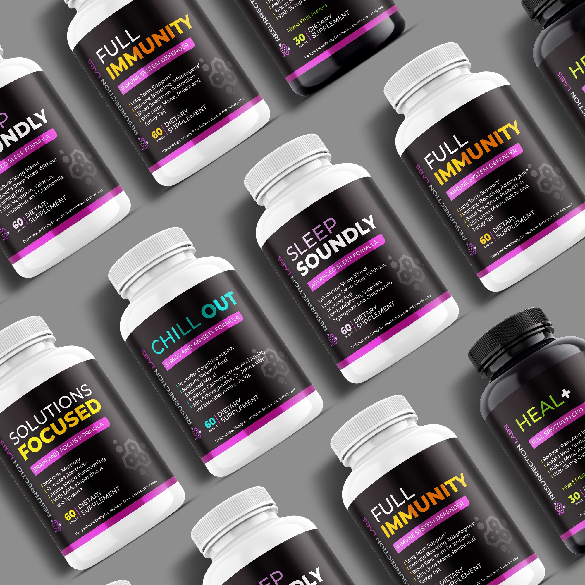 Product labels for a company selling health supplements to people going through divorce.