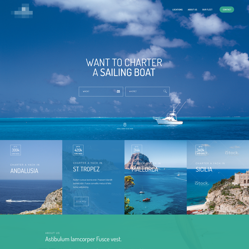 Landing Page for Yacht Rental Service