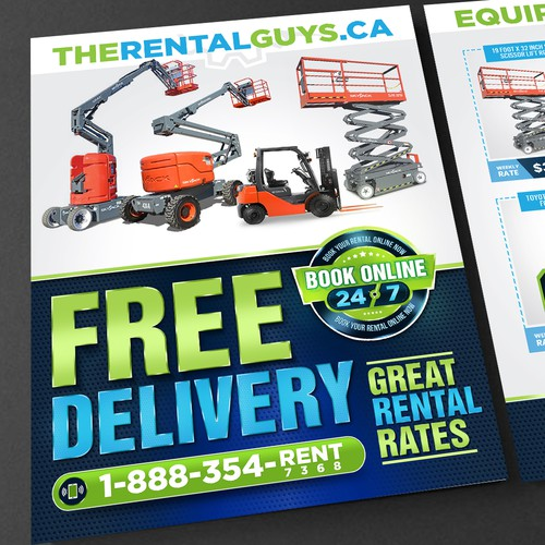 Direct mail brochure for online equipment rental company