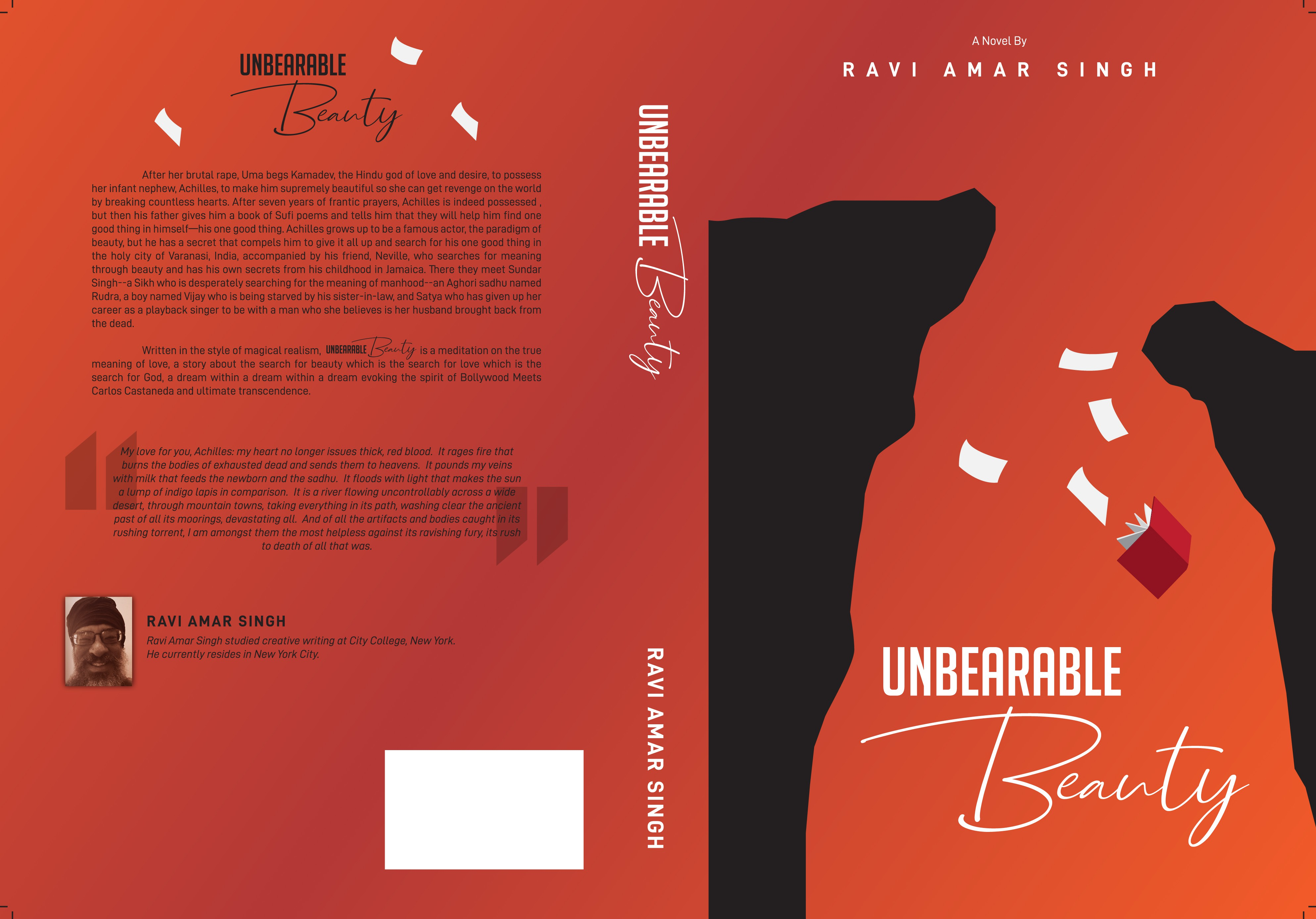 Design a cover for Unbearable Beauty, a novel about transcendence