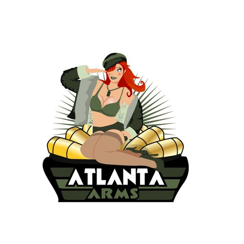 Vintage Pin up girl with modern twist for ammunition company.