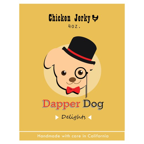 Create a Dapper Dog label for our company product!