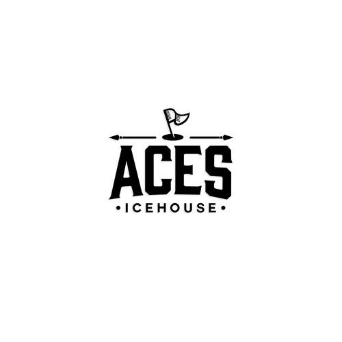 Simple clean logo for restaurant themed golf