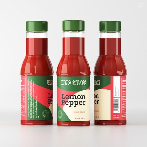 Lemon Pepper Wing Sauce Label Design Concept