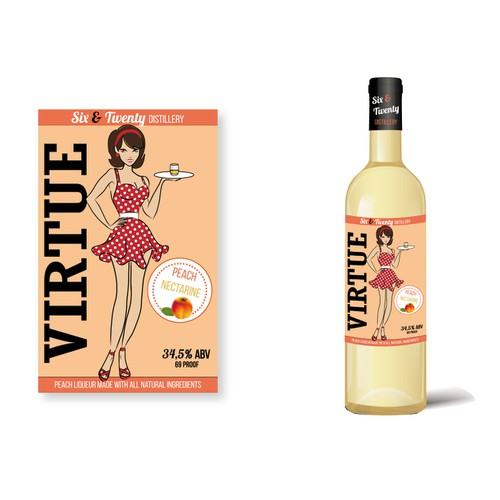 Label design for Virtue brand flavored whiskey.